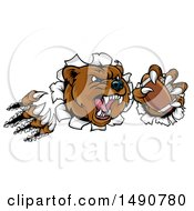 Clipart Of A Vicious Aggressive Bear Mascot Slashing Through A Wall With A Football In A Paw Royalty Free Vector Illustration