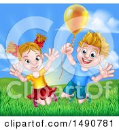 Cartoon Happy Excited Blond Caucasian Boy And Girl Jumping Outdoors With A Balloon
