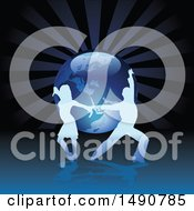 Clipart Of A Silhouetted Latin Dance Couple Over Rays And Planet Earth Royalty Free Vector Illustration by dero