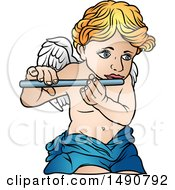 Clipart Of A Cherub Playing A Flute Royalty Free Vector Illustration