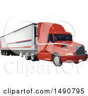 Clipart Of A 3d Big Rig Tractor Tailer Royalty Free Vector Illustration