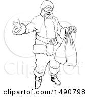 Clipart Of A Black And White Santa Claus Royalty Free Vector Illustration