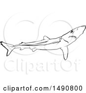 Clipart Of A Black And White Blue Shark Royalty Free Vector Illustration by dero