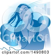 Clipart Of A Woman Wearing Headphones With An Equalizer Bar And Vinyl Records Royalty Free Vector Illustration