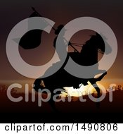 Poster, Art Print Of Silhouetted Horseback Cowboy With A Flag Against A Sunset