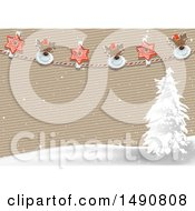 Striped Paper Background With A Snowy Landscape And Christmas Banner