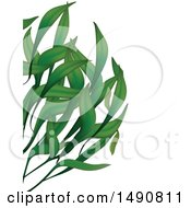 Clipart Of A Background Of Long Green Leaves And Text Space Royalty Free Vector Illustration