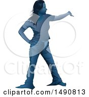 Blue Toned Presenting Woman