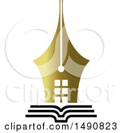 Clipart Of A Gold Pen Nib Building On An Open Book Royalty Free Vector Illustration by Lal Perera