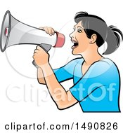 Clipart Of A Woman Using A Megaphone Royalty Free Vector Illustration