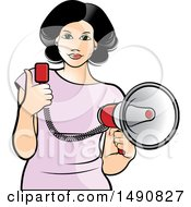 Clipart Of A Woman Holding A Megaphone Royalty Free Vector Illustration