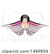 Clipart Of A Flying Angel Woman Royalty Free Vector Illustration