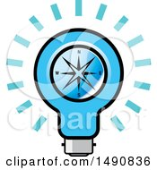 Clipart Of A Bright Blue Light Bulb With A Compass Royalty Free Vector Illustration by Lal Perera