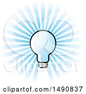 Clipart Of A Blue Light Bulb And Rays Royalty Free Vector Illustration