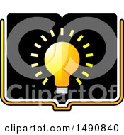 Clipart Of A Bright Light Bulb On An Open Book Royalty Free Vector Illustration by Lal Perera