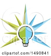 Clipart Of A Green And Blue Light Bulb With Rays Royalty Free Vector Illustration by Lal Perera