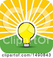 Clipart Of A Bright Light Bulb As A Sun In A Sky Royalty Free Vector Illustration