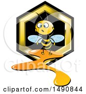 Clipart Of A Bee And A Leaking Honeycomb Royalty Free Vector Illustration