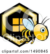 Clipart Of A Bee And Honeycomb Royalty Free Vector Illustration