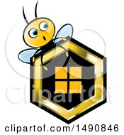 Clipart Of A Bee Over A Honeycomb Royalty Free Vector Illustration