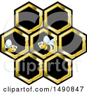 Clipart Of Bees And Honeycombs Royalty Free Vector Illustration