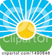 Clipart Of A Sunset Icon Royalty Free Vector Illustration