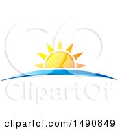 Clipart Of A Sunset And Blue Swoosh Royalty Free Vector Illustration