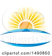 Clipart Of A Sunset And Blue Swooshes Forming A Frame Royalty Free Vector Illustration