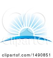 Clipart Of A Blue Sunset And Swoosh Royalty Free Vector Illustration