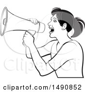 Black And White Woman Using A Megaphone