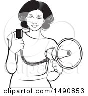 Black And White Woman Holding A Megaphone