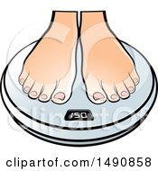 Pair Of Female Feet On A Scale