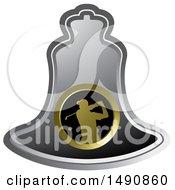 Swinging Golfer On A Silver Bell