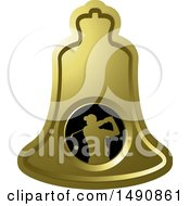 Clipart Of A Swinging Golfer On A Gold Bell Royalty Free Vector Illustration