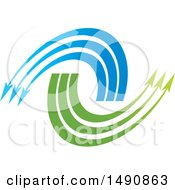 Clipart Of A Blue And Green Arrow Design Royalty Free Vector Illustration by Lal Perera