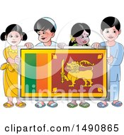 Clipart Of A Group Of Happy Sri Lankan Children Holding A Flag Royalty Free Vector Illustration