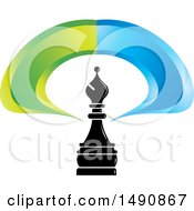 Clipart Of A Bishop Chess Piece And Blue And Green Swoosh Royalty Free Vector Illustration by Lal Perera