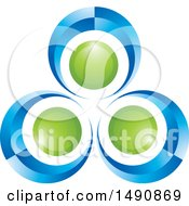 Clipart Of A Blue And Green Abstract Circle Or Dancer Design Royalty Free Vector Illustration