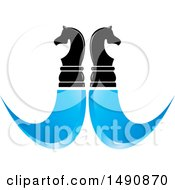 Clipart Of A Mirrored Knight Chess Piece And Blue Swooshes Design Royalty Free Vector Illustration by Lal Perera