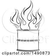 Poster, Art Print Of Black And White Fire In A Barrel
