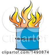 Clipart Of A Fire In A Barrel Royalty Free Vector Illustration by Lal Perera