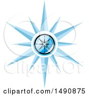 Clipart Of A Blue Compass Royalty Free Vector Illustration by Lal Perera
