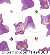 Seamless Pattern Of Grinning Purple Cheshire Cats And Card Suit Symbols