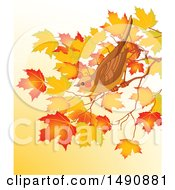 Clipart Of A Bird Perched On An Autumn Branch Over Gradient Royalty Free Vector Illustration