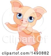 Clipart Of A Cute Blue Eyed Curly Tailed Piglet Dancing Royalty Free Vector Illustration