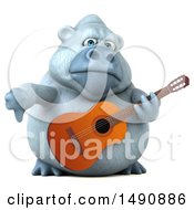 Poster, Art Print Of 3d White Monkey Yeti Playing A Guitar On A White Background