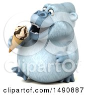 Poster, Art Print Of 3d White Monkey Yeti Eating A Waffle Cone On A White Background