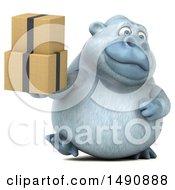 Poster, Art Print Of 3d White Monkey Yeti Holding Boxes On A White Background