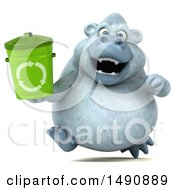 Poster, Art Print Of 3d White Monkey Yeti Holding A Recycle Bin On A White Background