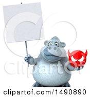 Poster, Art Print Of 3d White Monkey Yeti Holding A Devil Head On A White Background